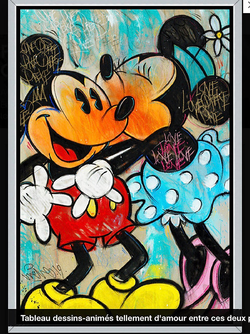 Tableau famous love Mickey Minnie 120x80cm