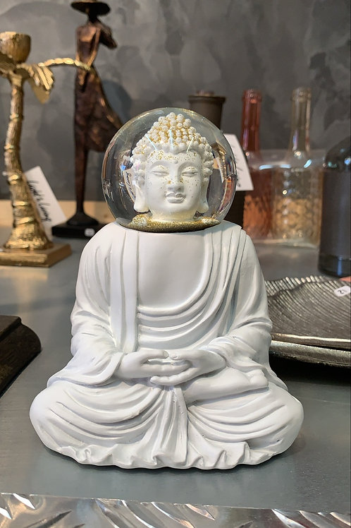 Bouddha blanc boule à paillettes