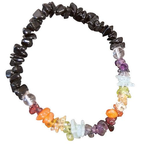 Chakra Stones Chip Bracelet - with Black Tourmaline