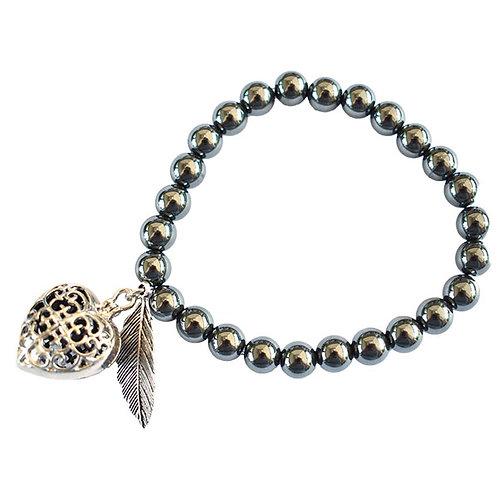 Hematite Aromatherapy Heart Bracelet