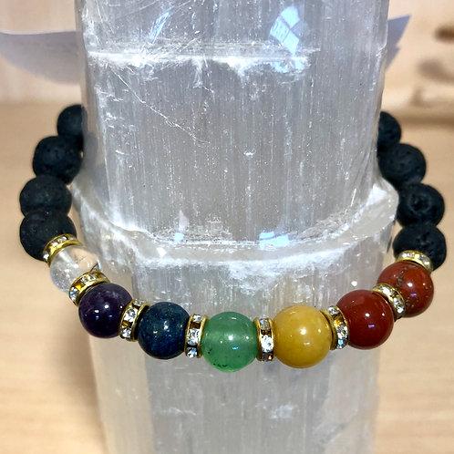 Chakra Lava Stone Aromatherapy Bracelet