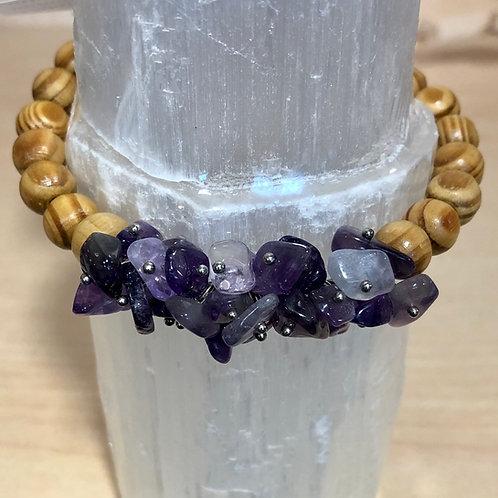 Amethyst Wooden Bead Bracelet
