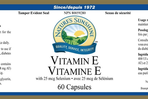 Vitamin E with Selenium (60 Softgels)