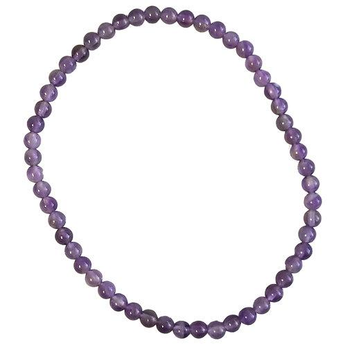 Amethyst 3mm Small Round Bracelet