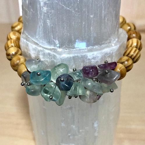 Fluorite Wooden Bead Bracelet