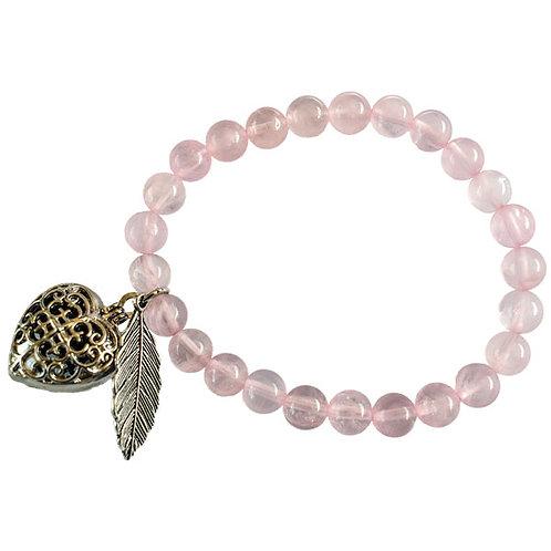 Rose Quartz Aromatherapy Heart Bracelet