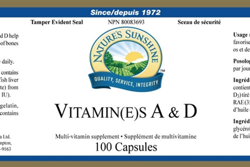 Vitamin(E)S A & D (100 Capsules)