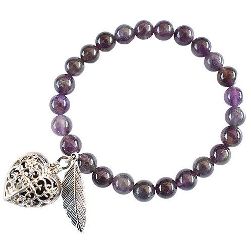 Amethyst Aromatherapy Heart Bracelet