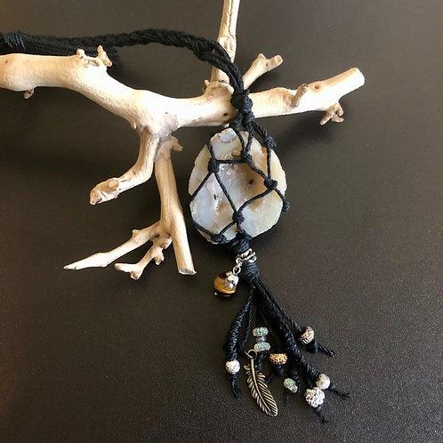 Quartz Geode Gemstone Necklace / Ornament