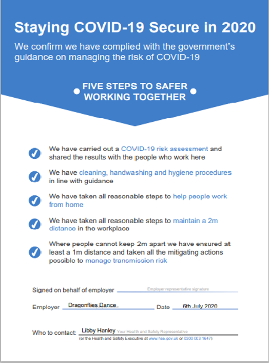 Staying COVID Secure in the workplace -