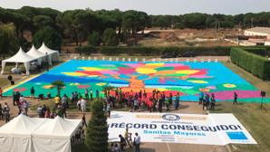 5.000 mayores consiguen crear el mosaico de cartón más grande del mundo