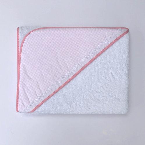 Minhon Pink Check Hood Towel