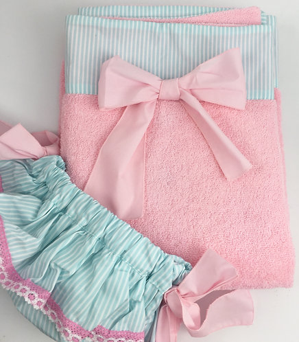 Phi Pink with Blue Stripe Towel