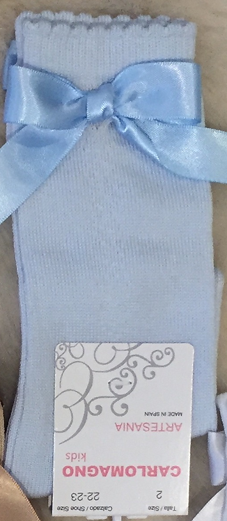 Baby Blue Patterned Side Bow Sock