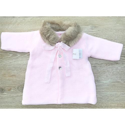 Mebi Baby Pink Fur Collar Coat