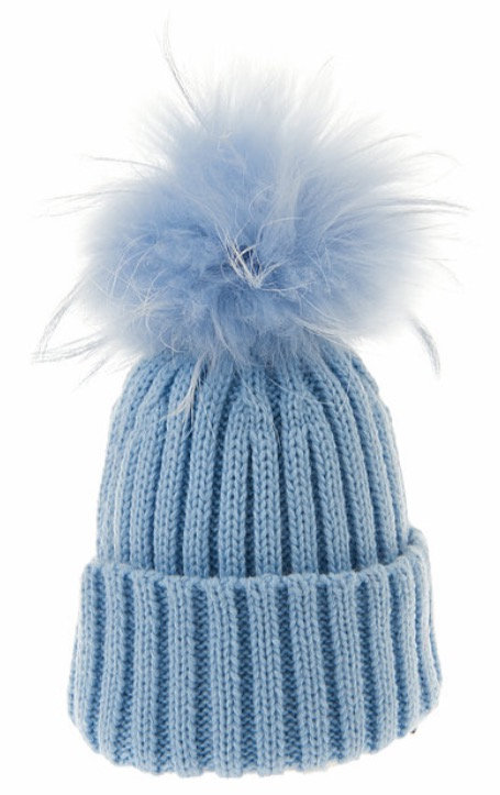 Ribbed Fur Pom Pom Beanie Blue