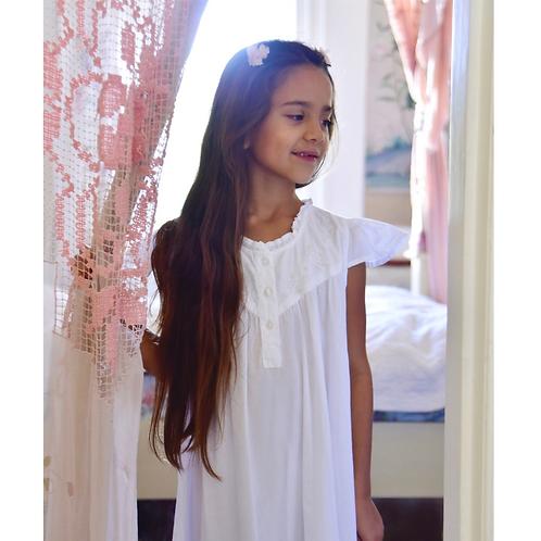 Girls White Cotton Nightdress
