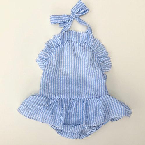 2019 Blue Wide Stripe Seersucker Swimsuit
