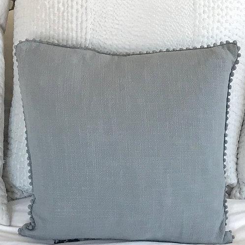 Personalised Pom Pom Cushion Dark Grey