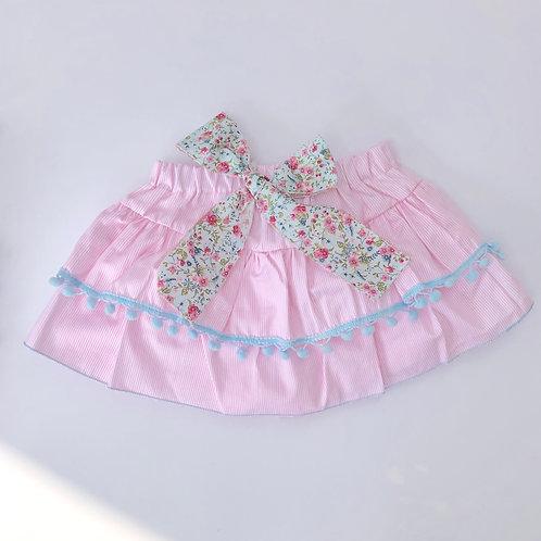 Phi Pink Stripe Blue PomPom Frill Skirt