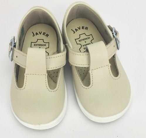 Javer Beige Leather T Bar Sandal
