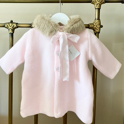 Mebi Baby Pink Fur Collar Coat