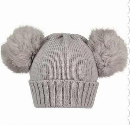 Double Fur Pom Pom Hat Grey