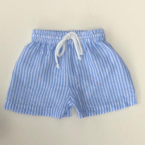 2019 Blue Wide Stripe Seersucker Swim Shorts