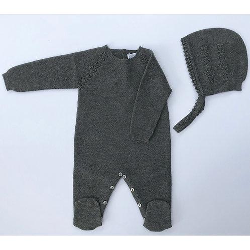 Wedoble Grey Babygrow and Bonnet