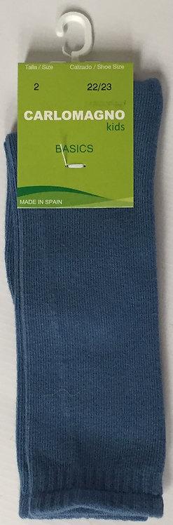 Carlomagno French Blue Plain Knee Sock