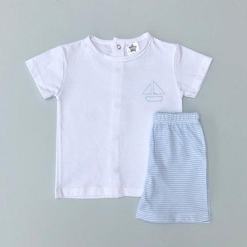 Minhon Blue Two Piece Shorts Set