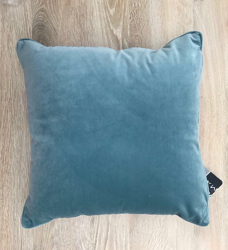 Personalised Ocean Blue Velvet Piped Cushion
