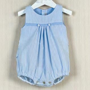 Mebi Blue Stripe Romper Buttons