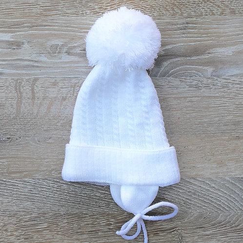 Pom Pom Hat White