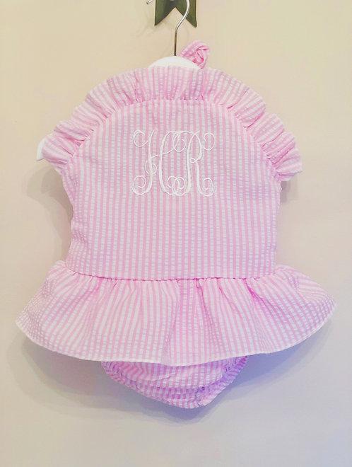 Pink Wide Stripe Seersucker Swimsuit