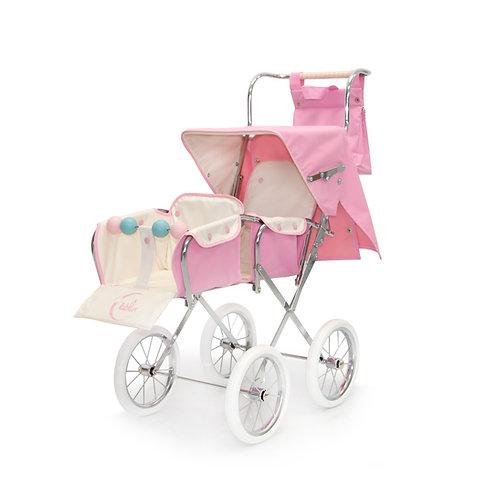 BebeLux Twin  Pink Dolls Pram