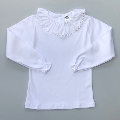 Minhon White Embroidery Collar T Shirt