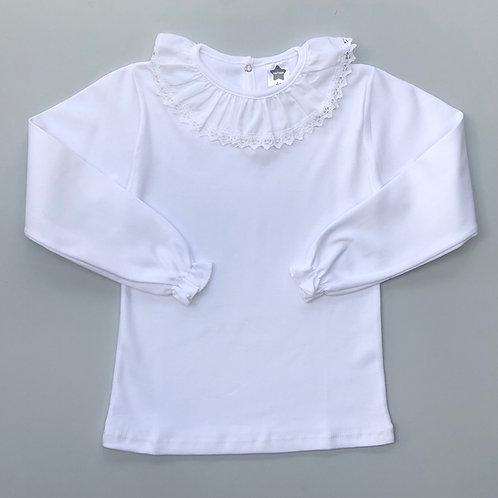 Minhon White Embroidery Collar T Shirt