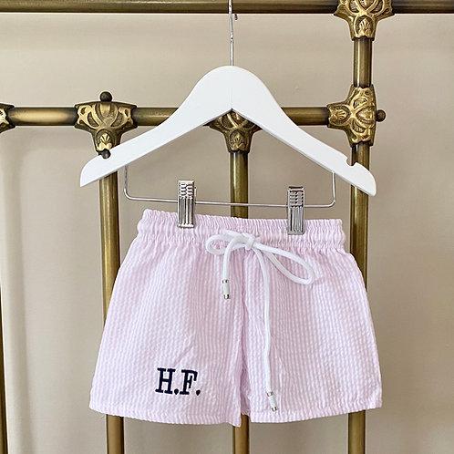 Pink Seersucker Swim Shorts