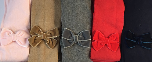 Carlomagno Grey Velvet Bow Tights