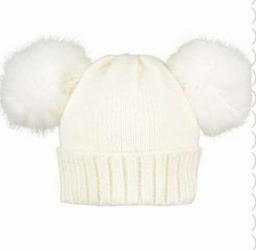 Double Fur Pom Pom Hat White