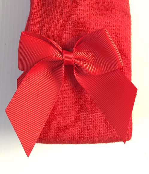 Carlomagno Red Grosgrain Bow Tights