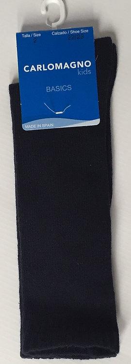 Carlomagno Navy Plain Knee Sock