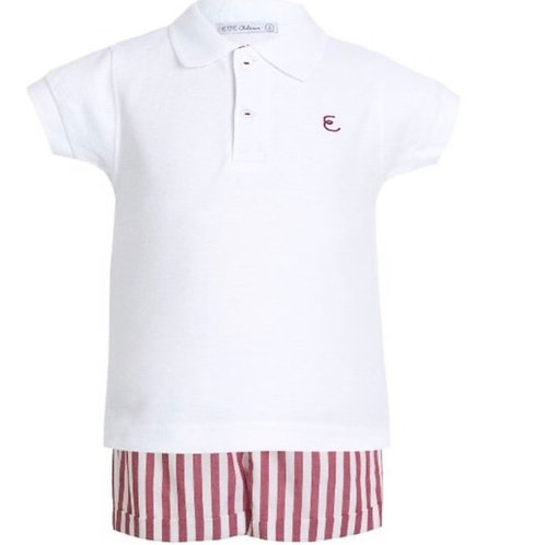 Eve Boys Red Stripe Shorts Set