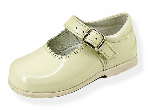 Beige Patent Leather Mary Janes