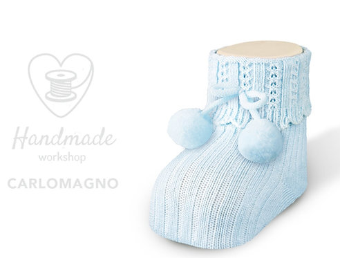 Carlomagno Baby Blue Pom Pom Baby Bootees