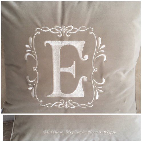Personalised Champagne Velvet Piped Cushion