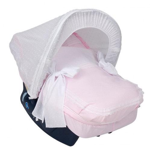 Nubeluna Bianca Car Seat Cover With Hood Pink