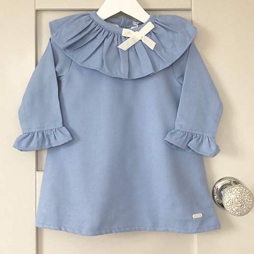 Babidu Arrezo Blue Ruffle Collar Dress 90252