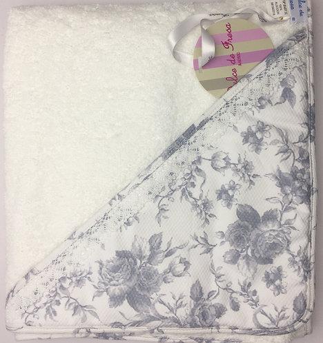 Dulce de Fresa Grey Flowers Hooded Towel
